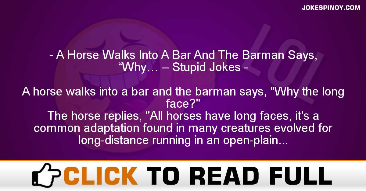 "A Horse Walks Into A Bar And The Barman Says, ""Why… – Stupid Jokes"