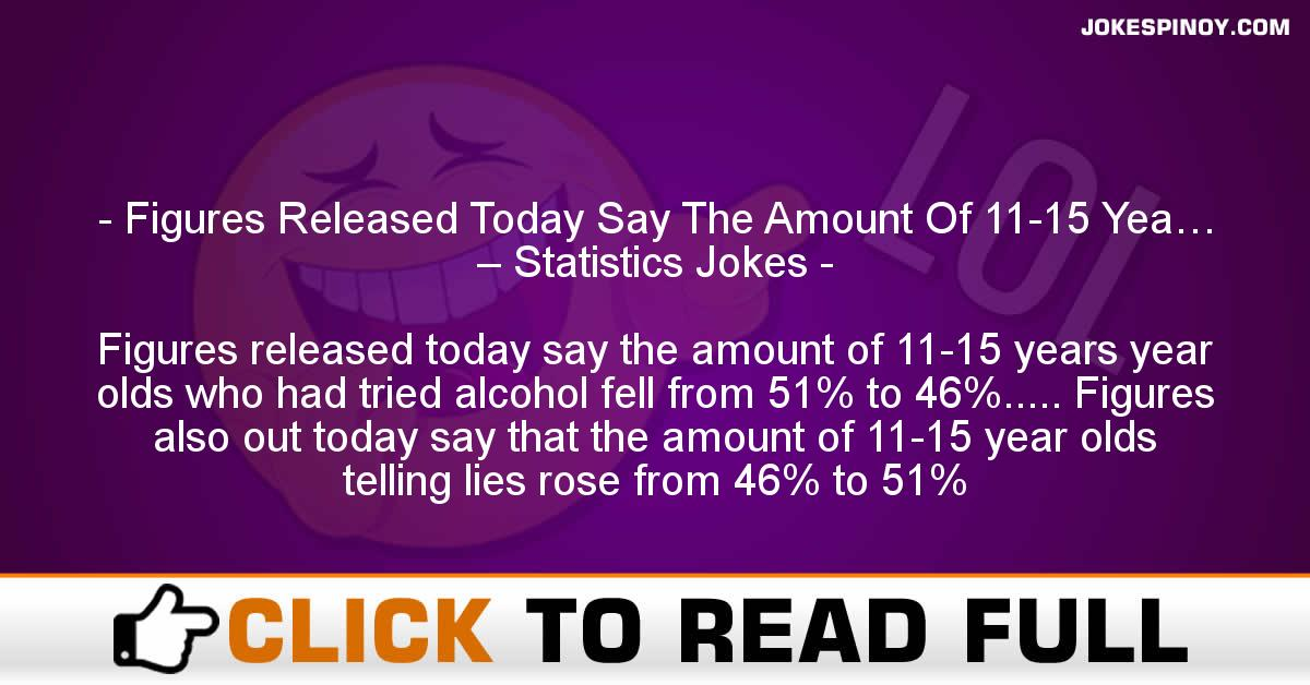 Figures Released Today Say The Amount Of 11-15 Yea… – Statistics Jokes