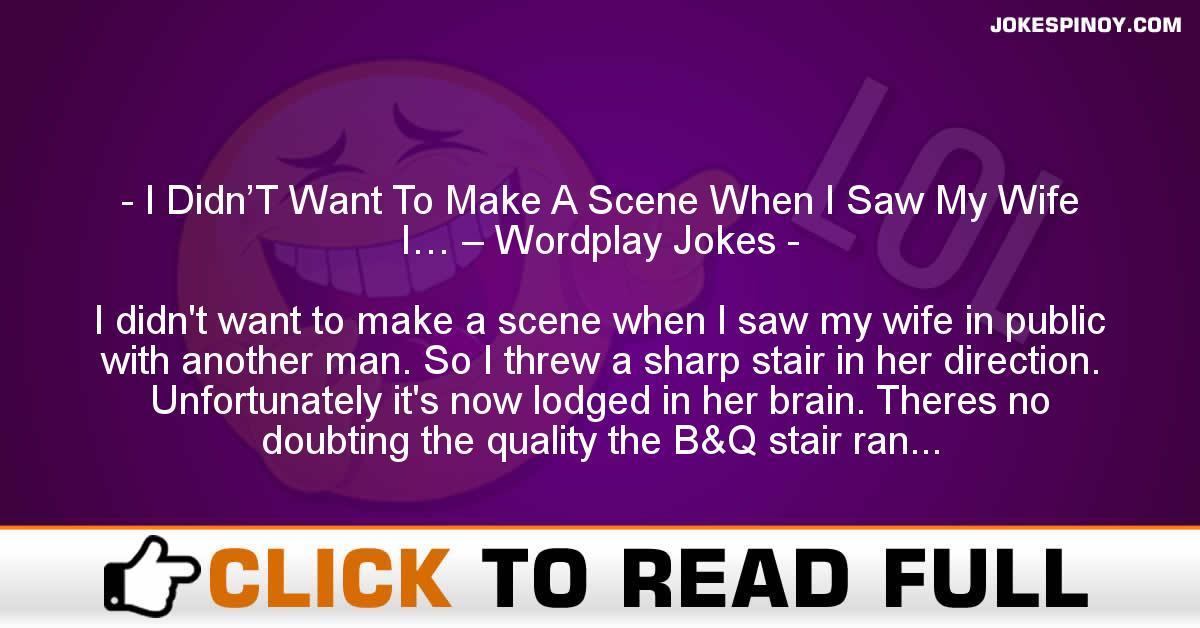 I Didn'T Want To Make A Scene When I Saw My Wife I… – Wordplay Jokes