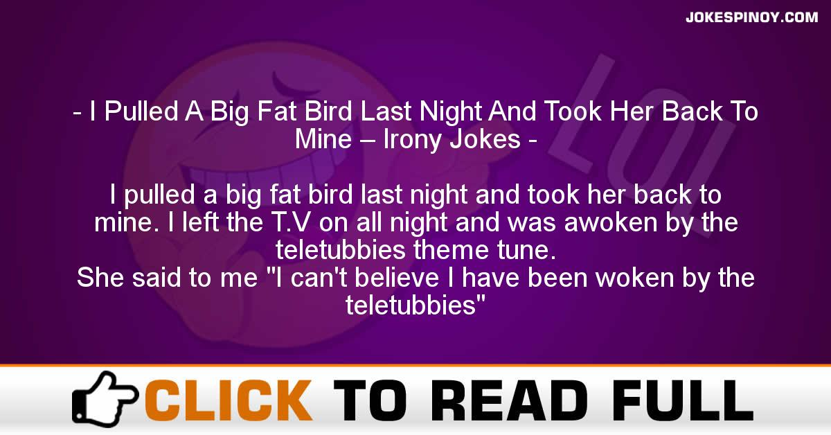 I Pulled A Big Fat Bird Last Night And Took Her Back To Mine – Irony Jokes