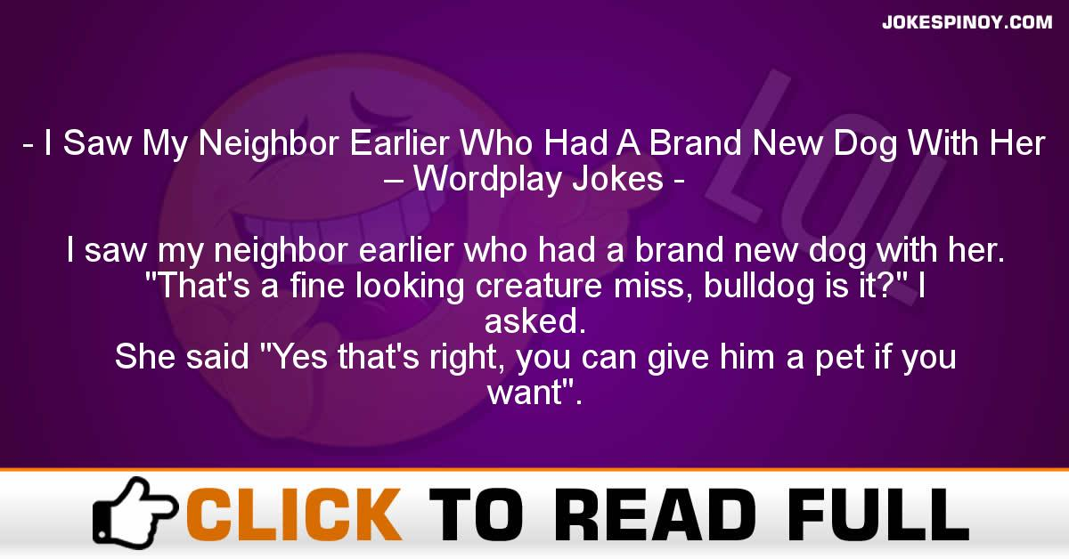 I Saw My Neighbor Earlier Who Had A Brand New Dog With Her – Wordplay Jokes