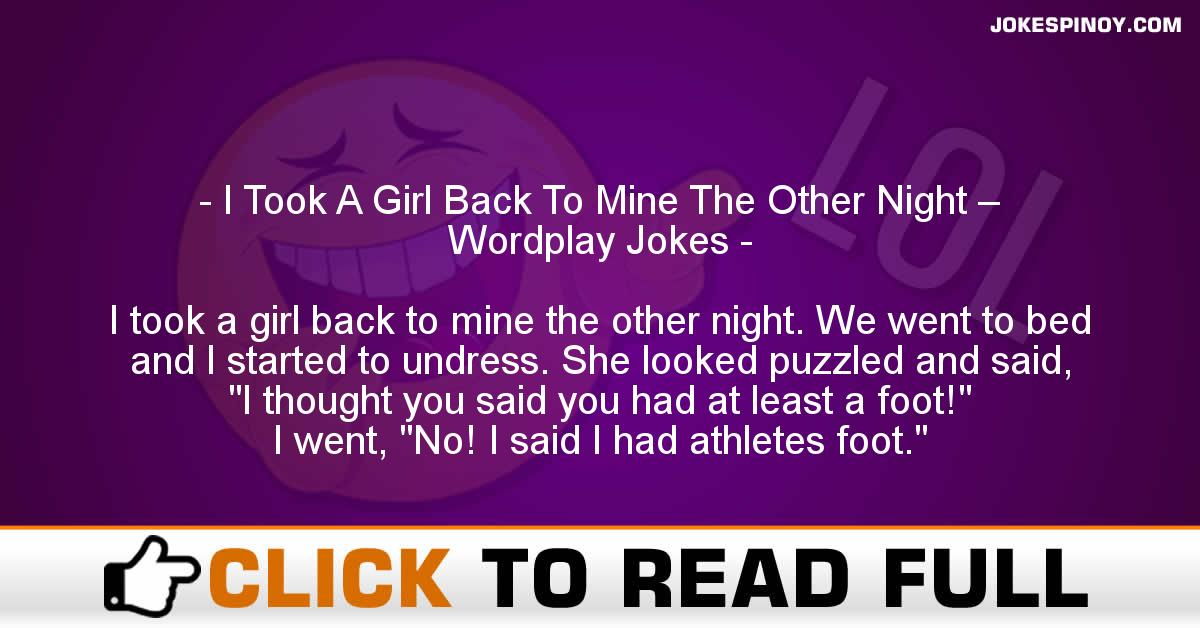 I Took A Girl Back To Mine The Other Night – Wordplay Jokes