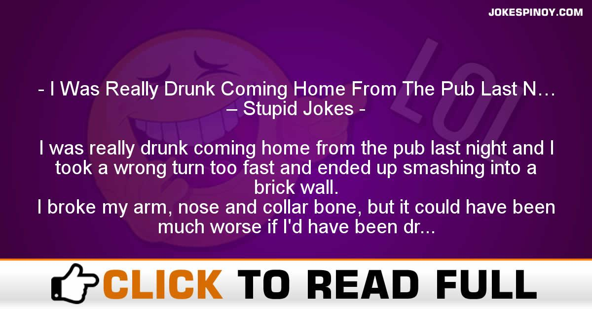 I Was Really Drunk Coming Home From The Pub Last N… – Stupid Jokes