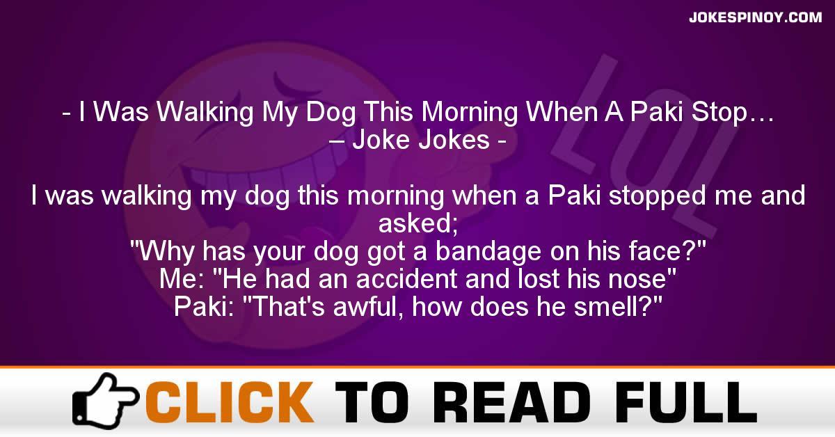 I Was Walking My Dog This Morning When A Paki Stop… – Joke Jokes