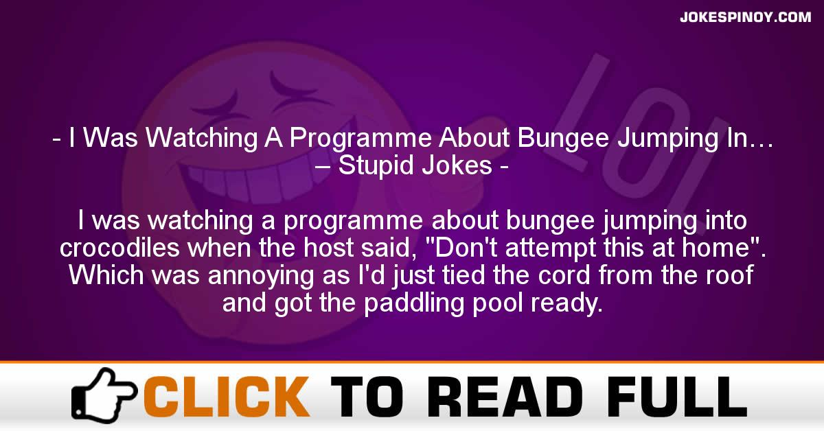 I Was Watching A Programme About Bungee Jumping In… – Stupid Jokes