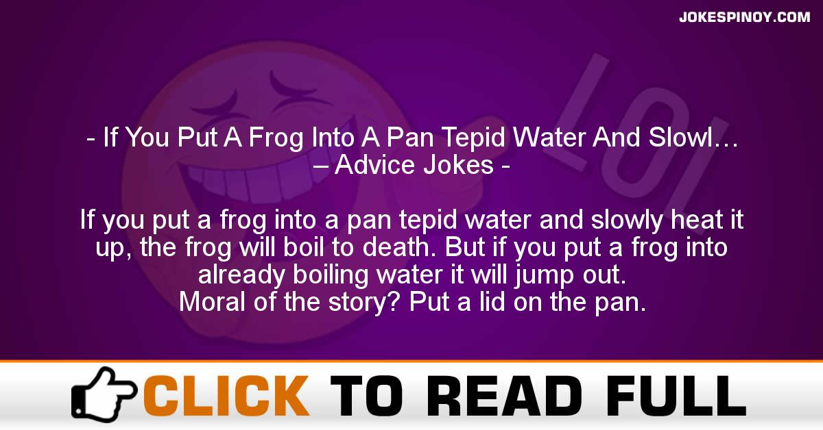 If You Put A Frog Into A Pan Tepid Water And Slowl… – Advice Jokes