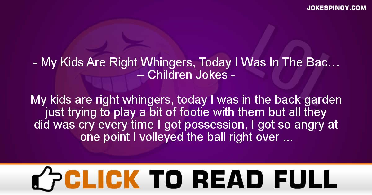 My Kids Are Right Whingers, Today I Was In The Bac… – Children Jokes