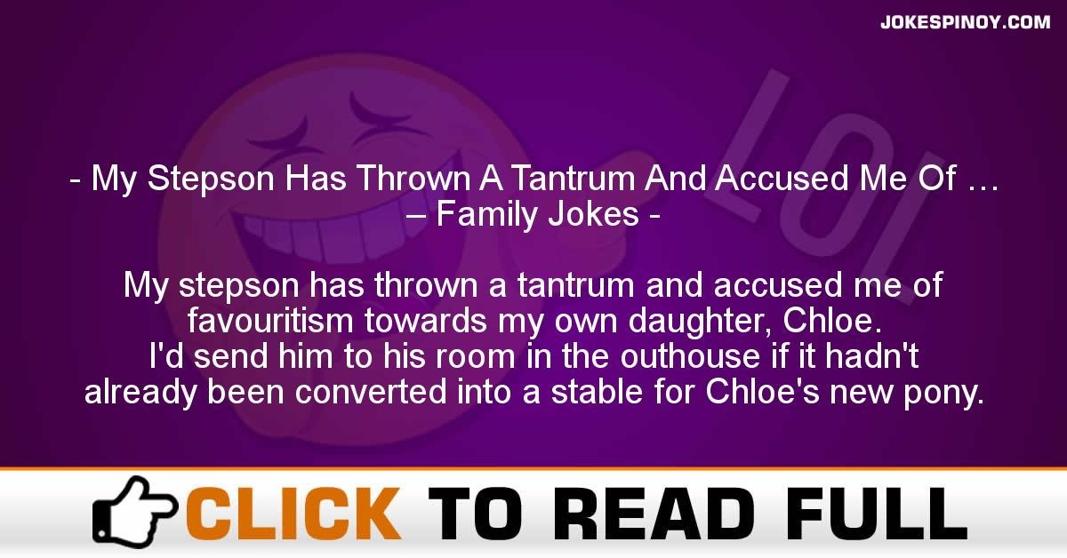 My Stepson Has Thrown A Tantrum And Accused Me Of … – Family Jokes
