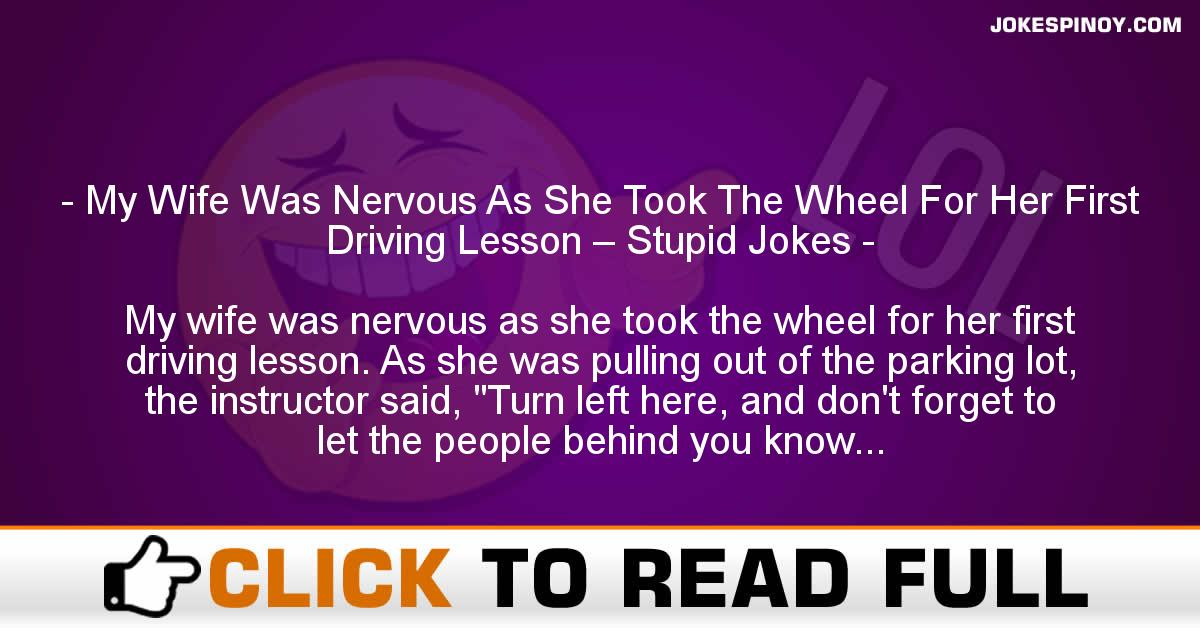 My Wife Was Nervous As She Took The Wheel For Her First Driving Lesson – Stupid Jokes