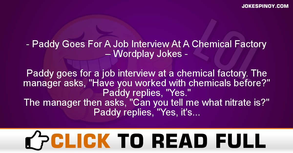 Paddy Goes For A Job Interview At A Chemical Factory – Wordplay Jokes
