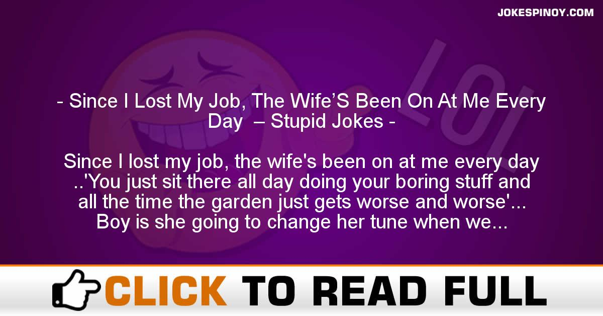 Since I Lost My Job, The Wife'S Been On At Me Every Day  – Stupid Jokes