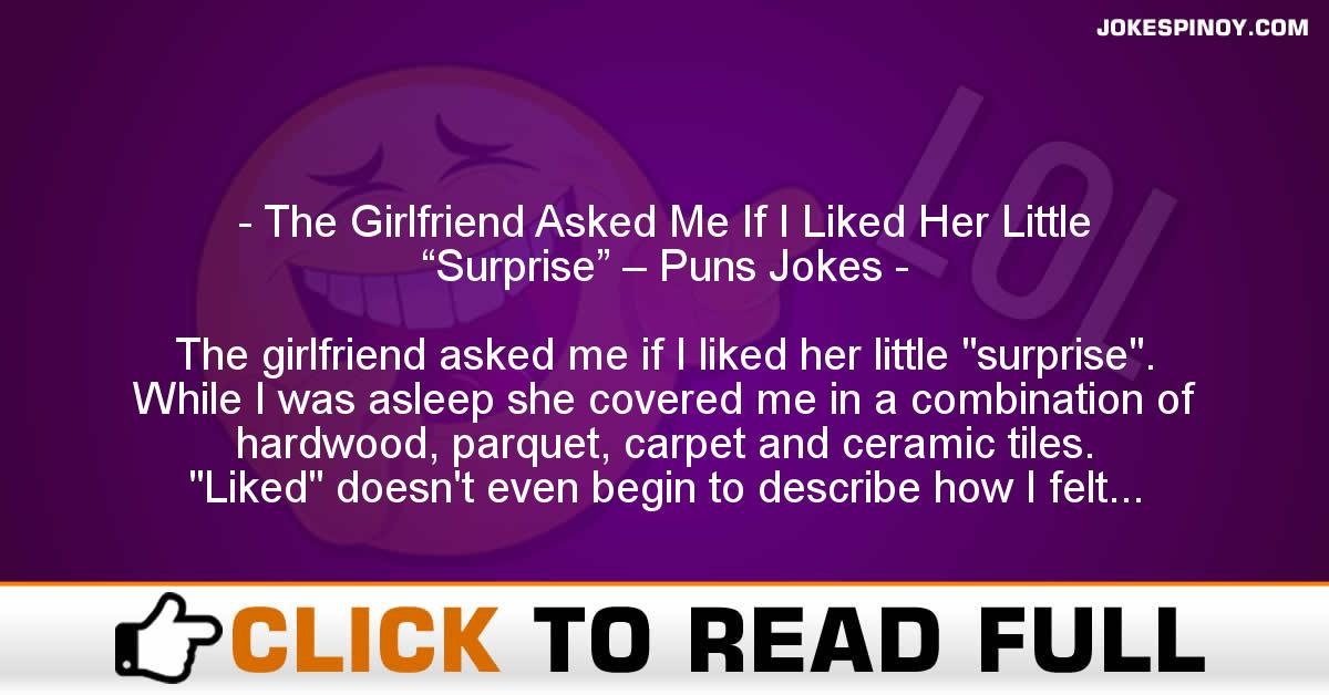 """The Girlfriend Asked Me If I Liked Her Little """"Surprise"""" – Puns Jokes"""