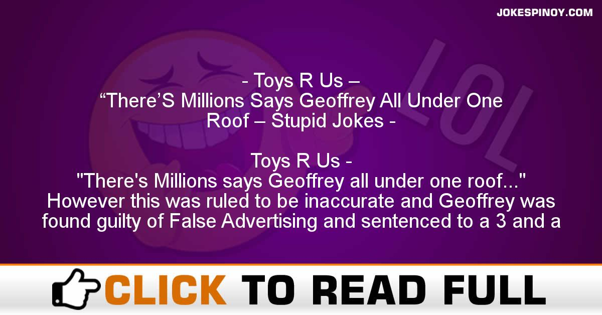 """Toys R Us – """"There'S Millions Says Geoffrey All Under One Roof – Stupid Jokes"""