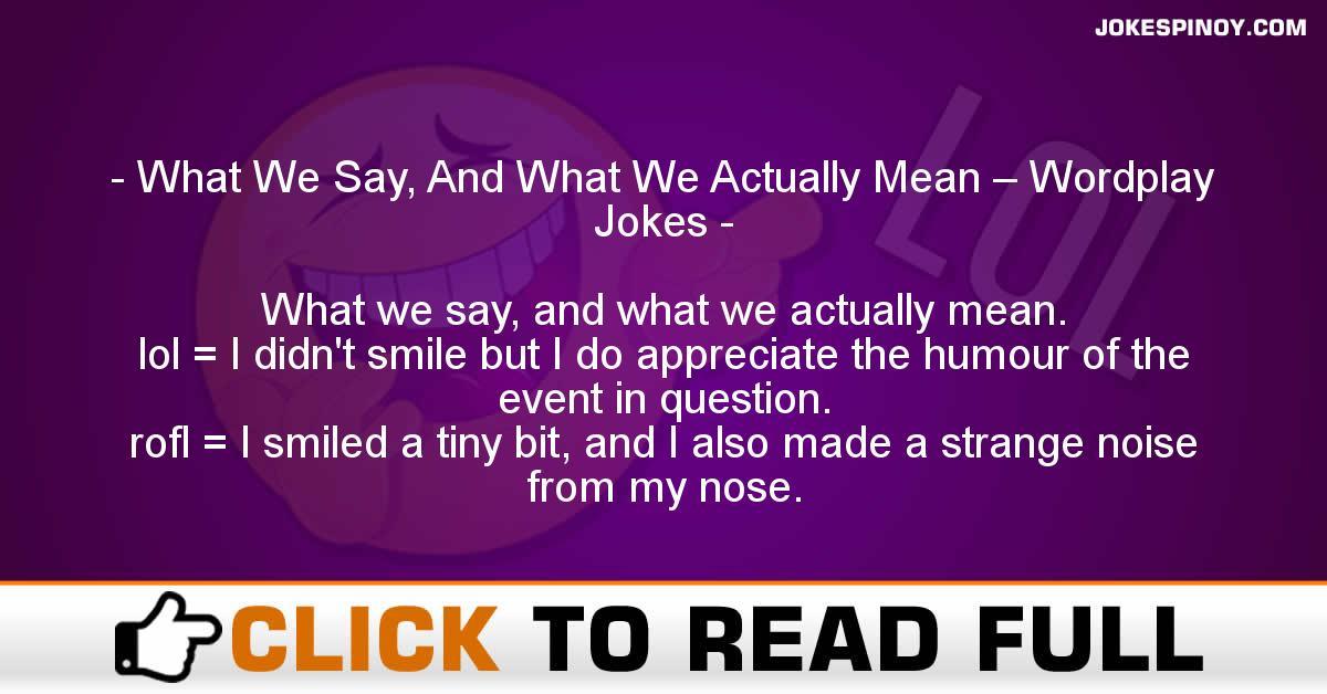 What We Say, And What We Actually Mean – Wordplay Jokes