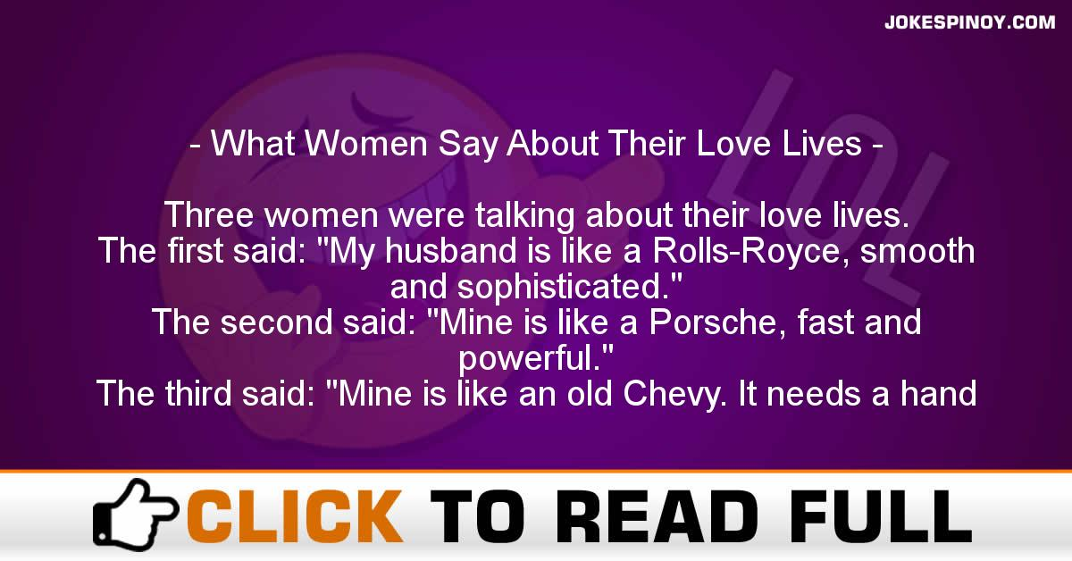 What Women Say About Their Love Lives
