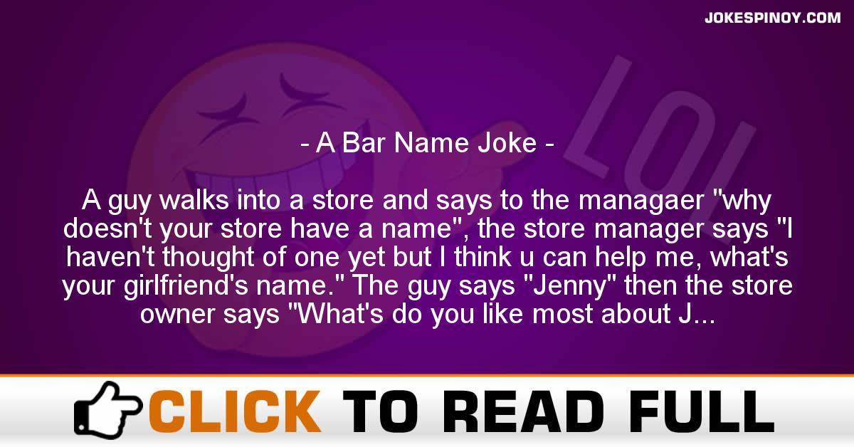 A Bar Name Joke
