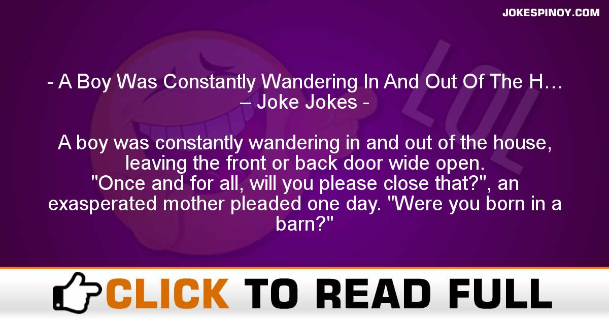 A Boy Was Constantly Wandering In And Out Of The H… – Joke Jokes