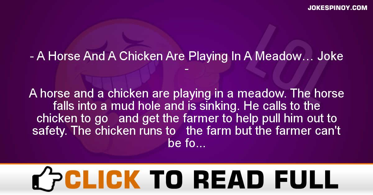 A Horse And A Chicken Are Playing In A Meadow… Joke