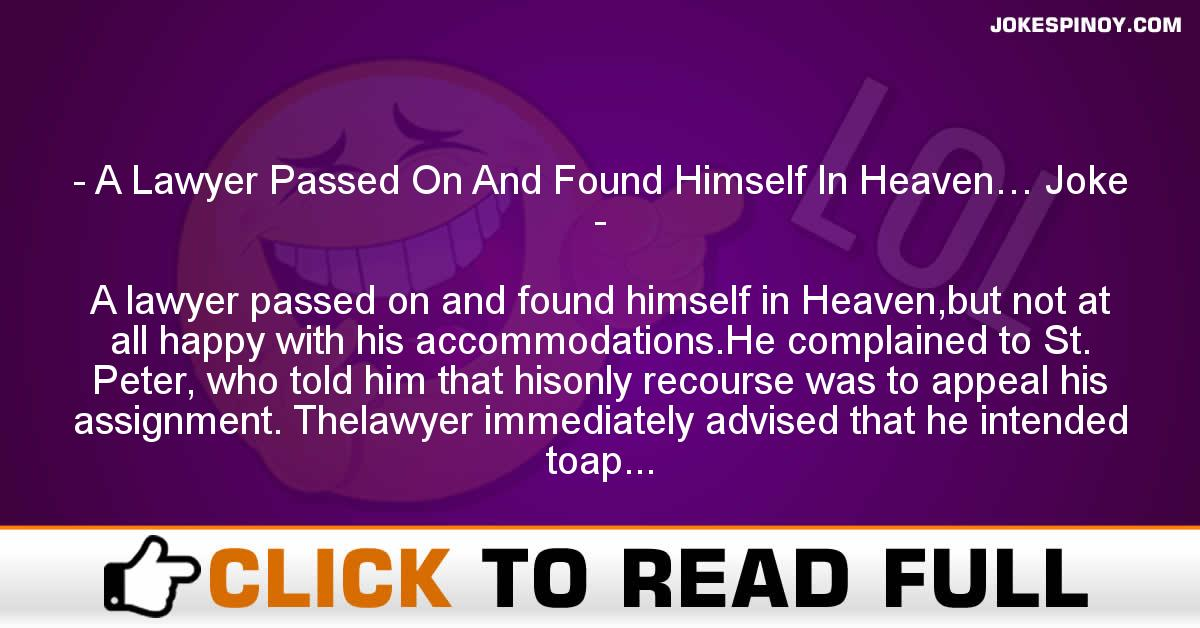 A Lawyer Pa*sed On And Found Himself In Heaven… Joke