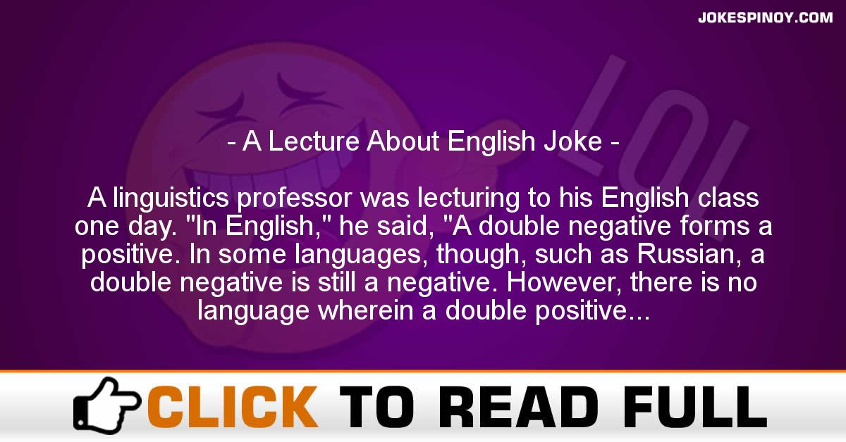 A Lecture About English Joke