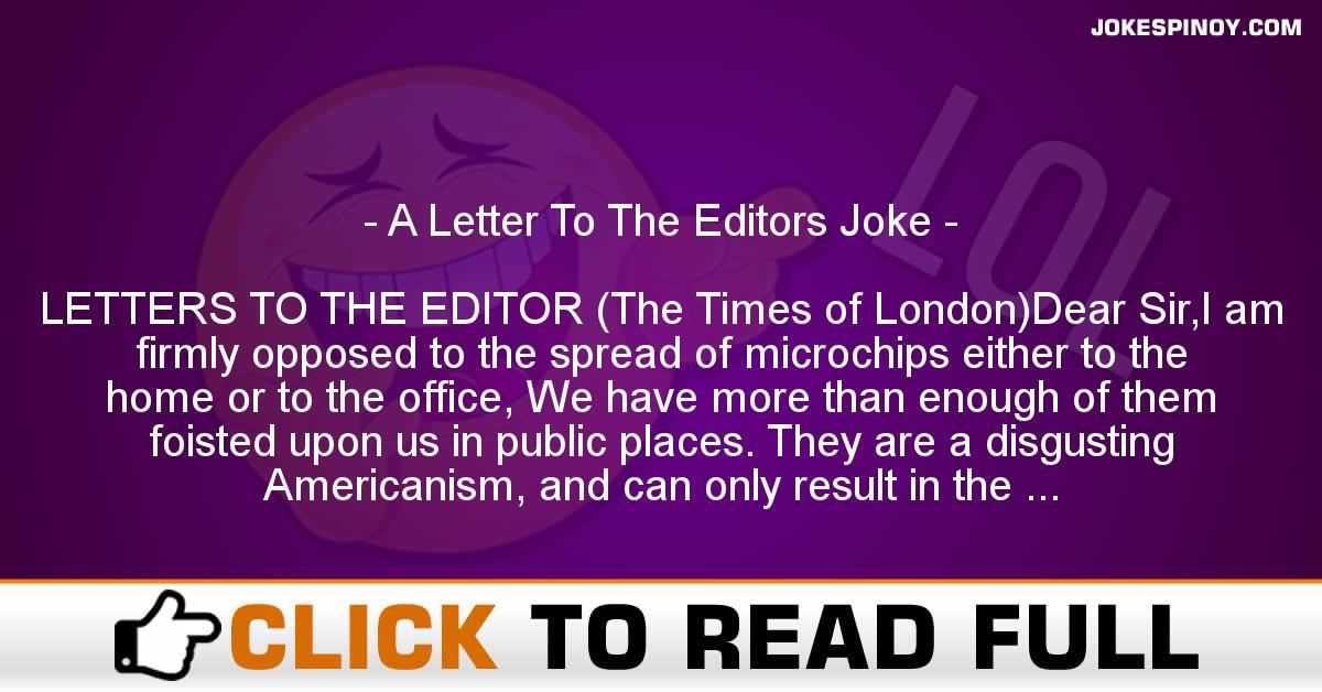A Letter To The Editors Joke