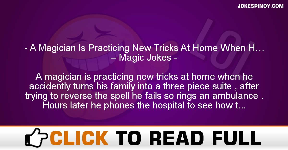 A Magician Is Practicing New Tricks At Home When H… – Magic Jokes