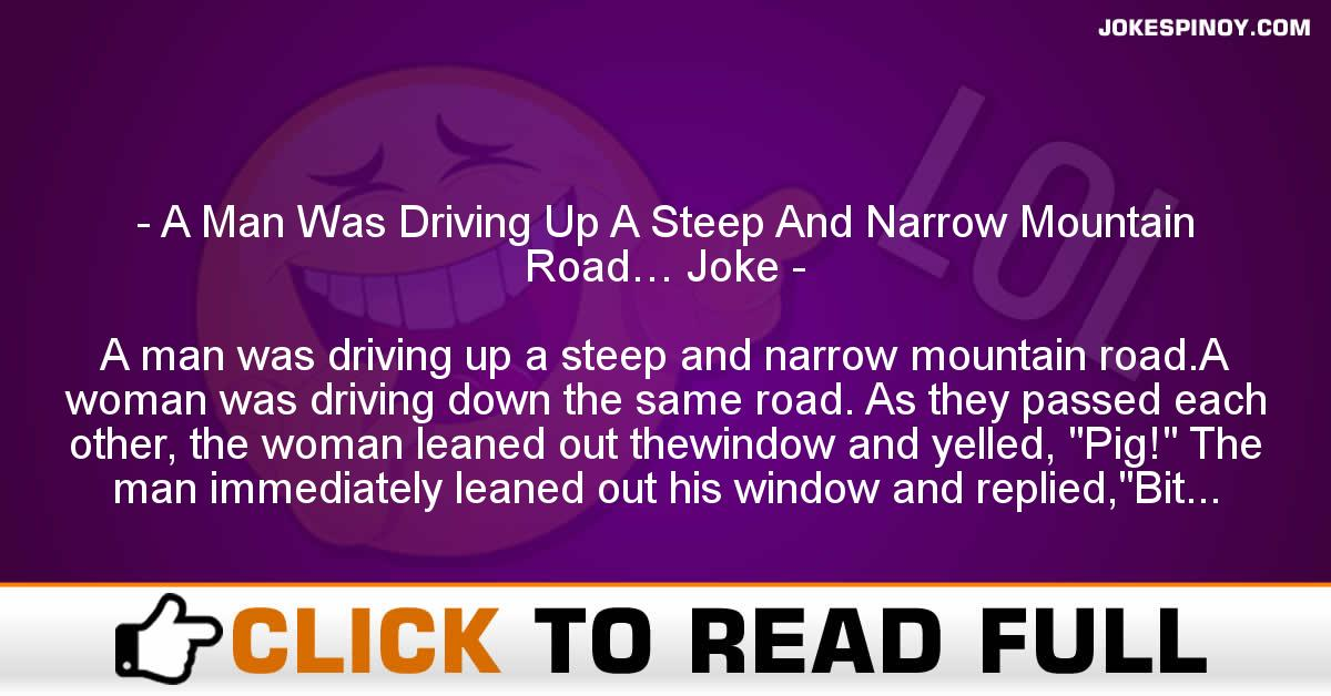 A Man Was Driving Up A Steep And Narrow Mountain Road… Joke