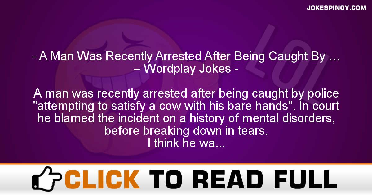 A Man Was Recently Arrested After Being Caught By … – Wordplay Jokes