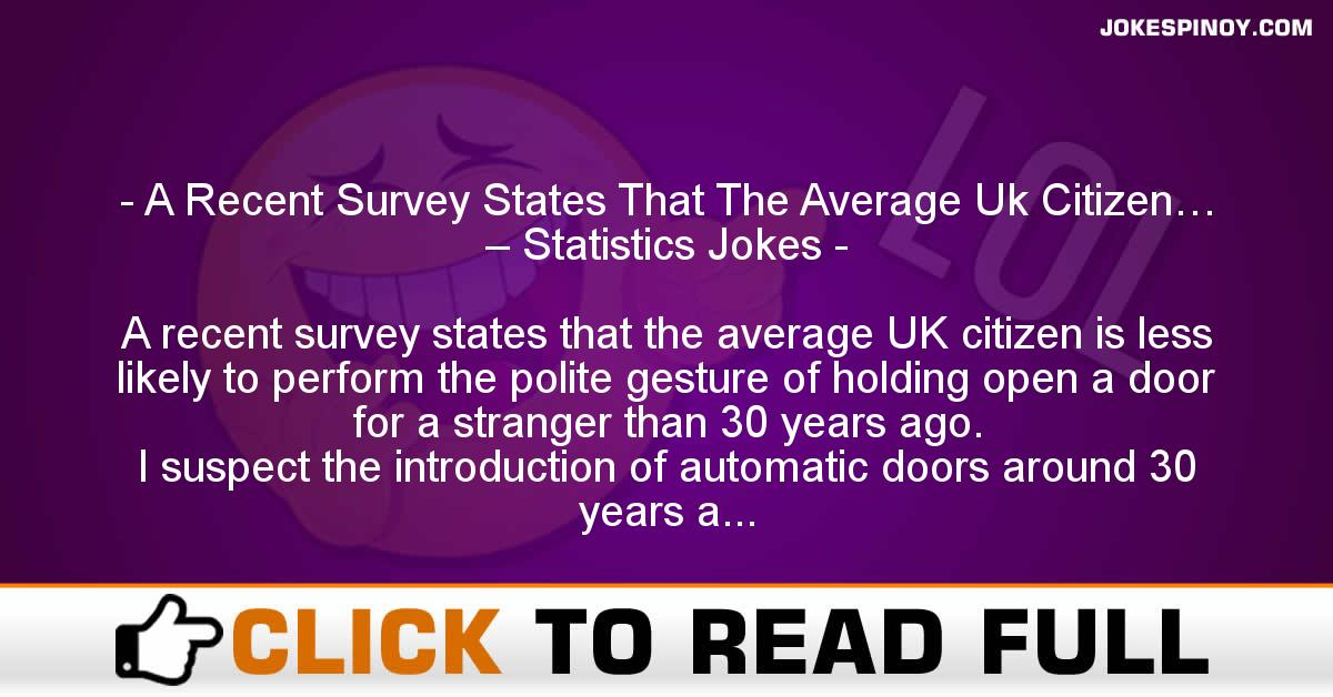 A Recent Survey States That The Average Uk Citizen… – Statistics Jokes
