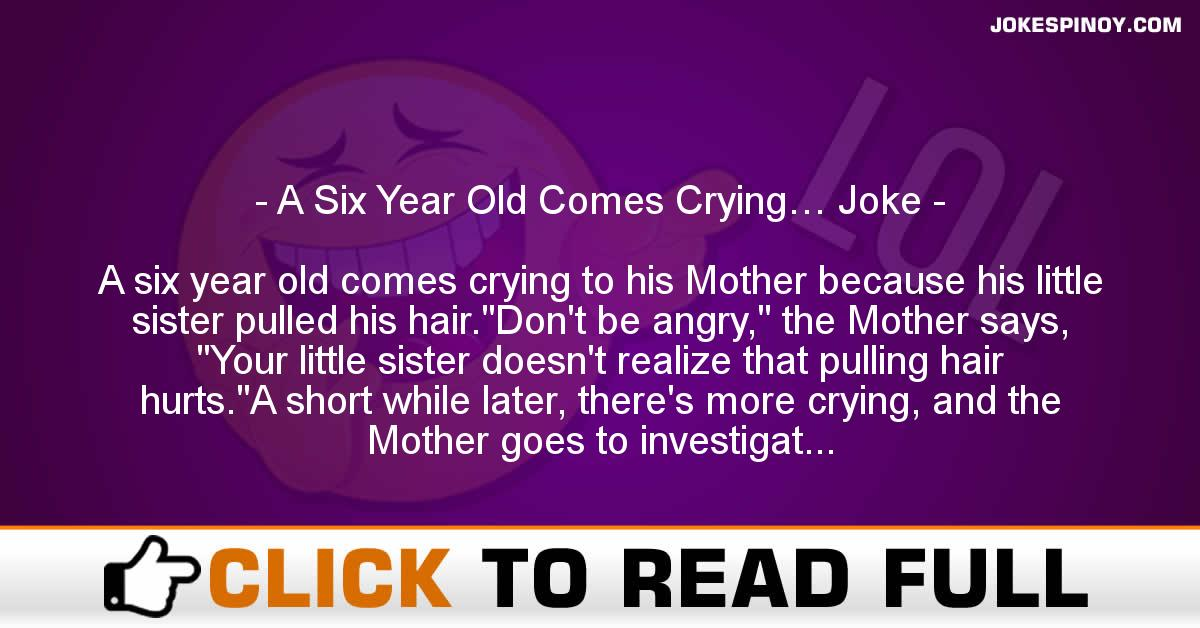 A Six Year Old Comes Crying… Joke