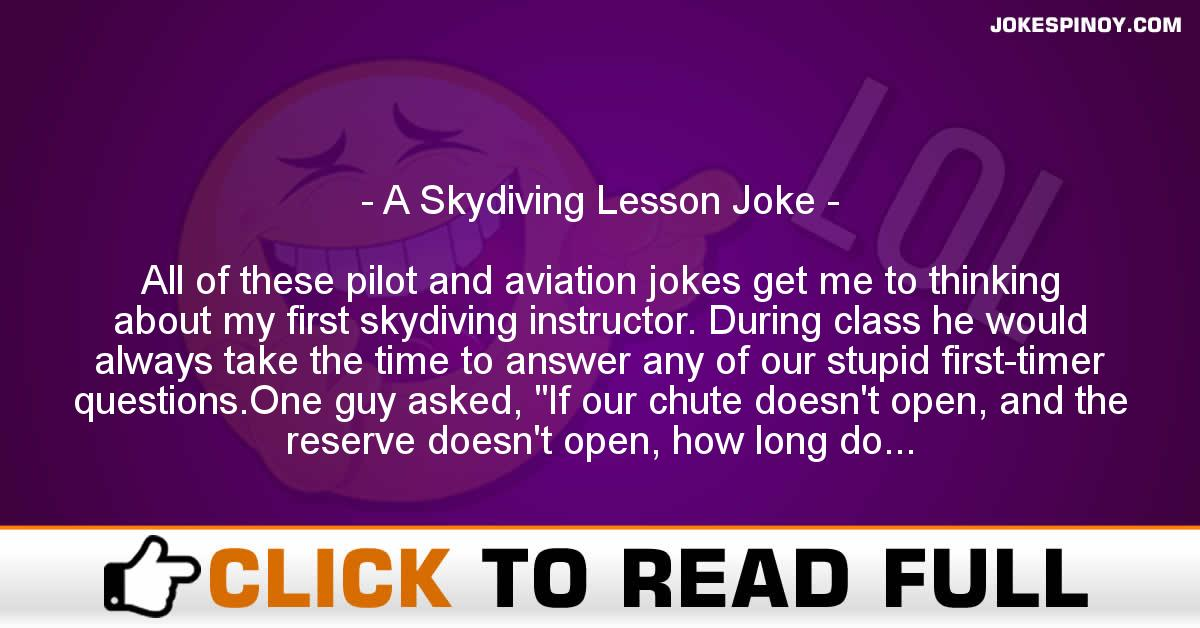 A Skydiving Lesson Joke
