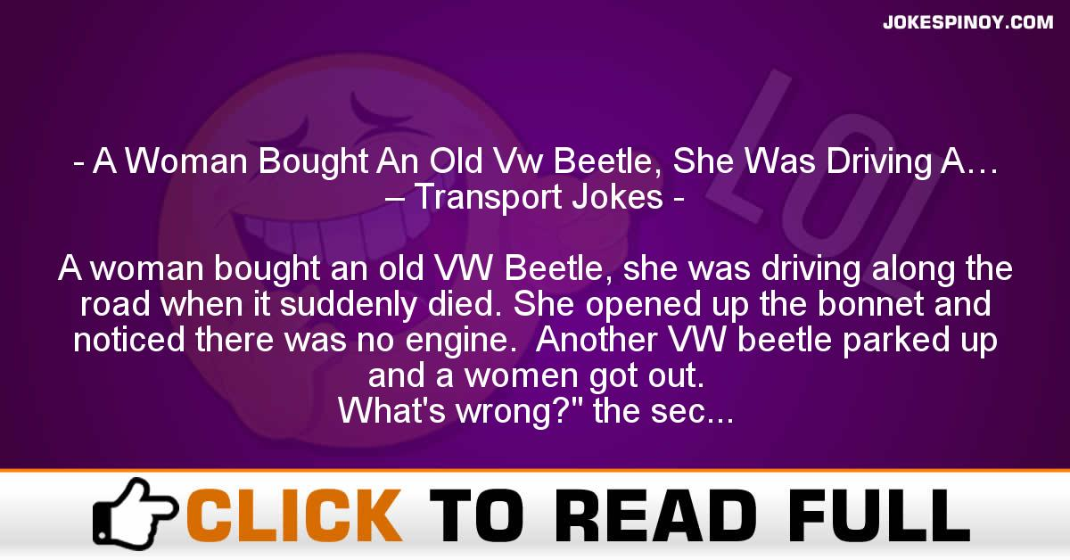 A Woman Bought An Old Vw Beetle, She Was Driving A… – Transport Jokes