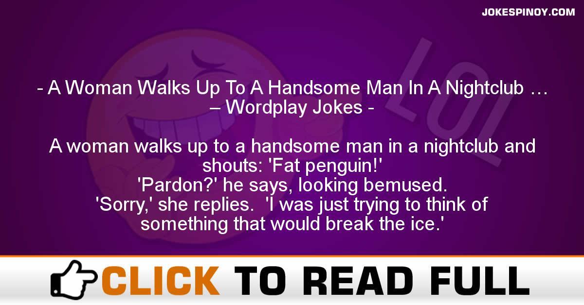 A Woman Walks Up To A Handsome Man In A Nightclub … – Wordplay Jokes
