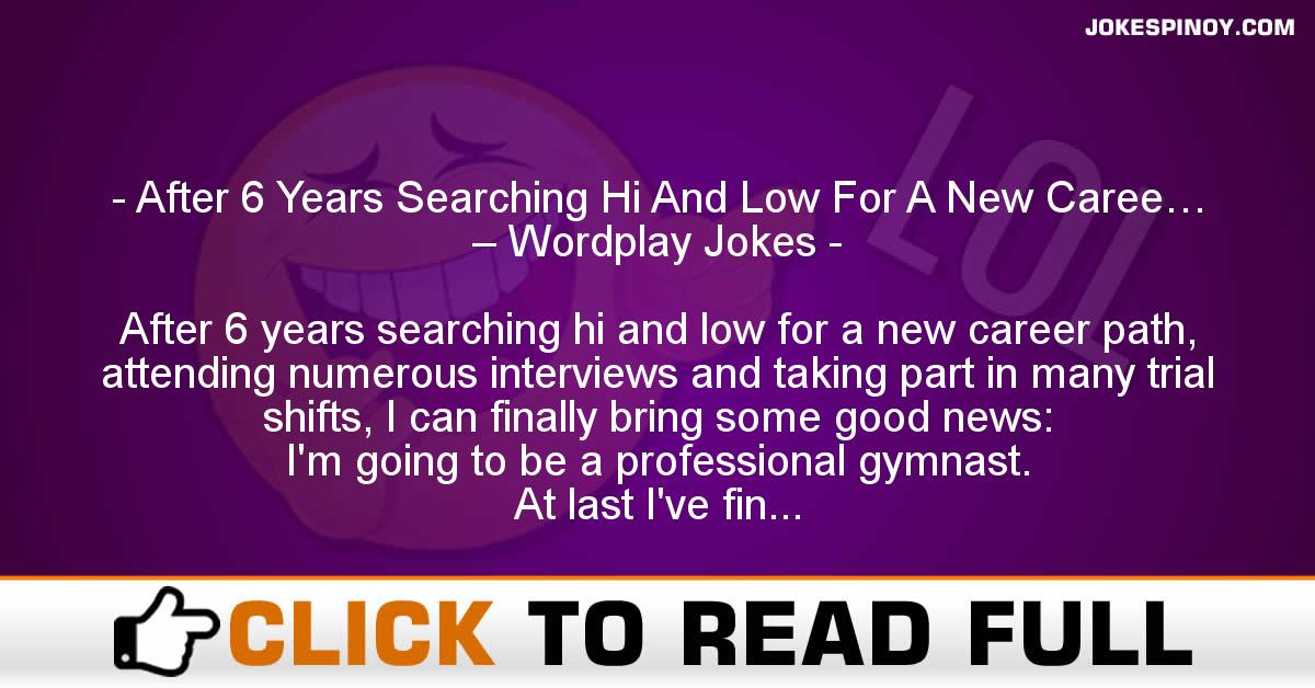 After 6 Years Searching Hi And Low For A New Caree… – Wordplay Jokes