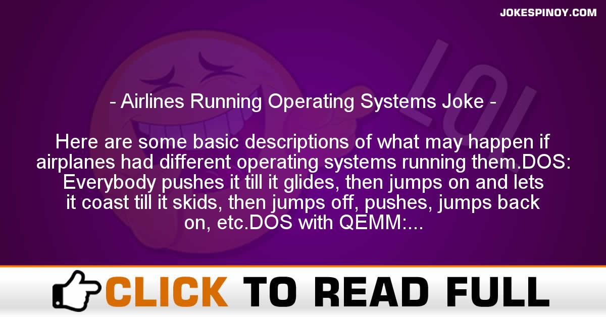 Airlines Running Operating Systems Joke