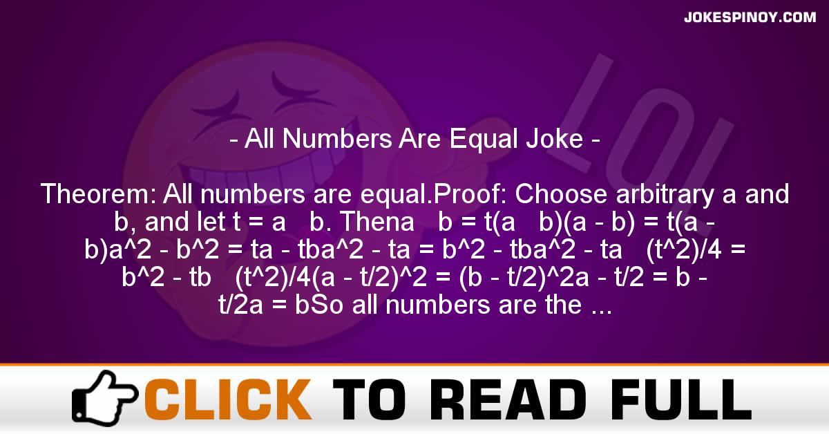 All Numbers Are Equal Joke