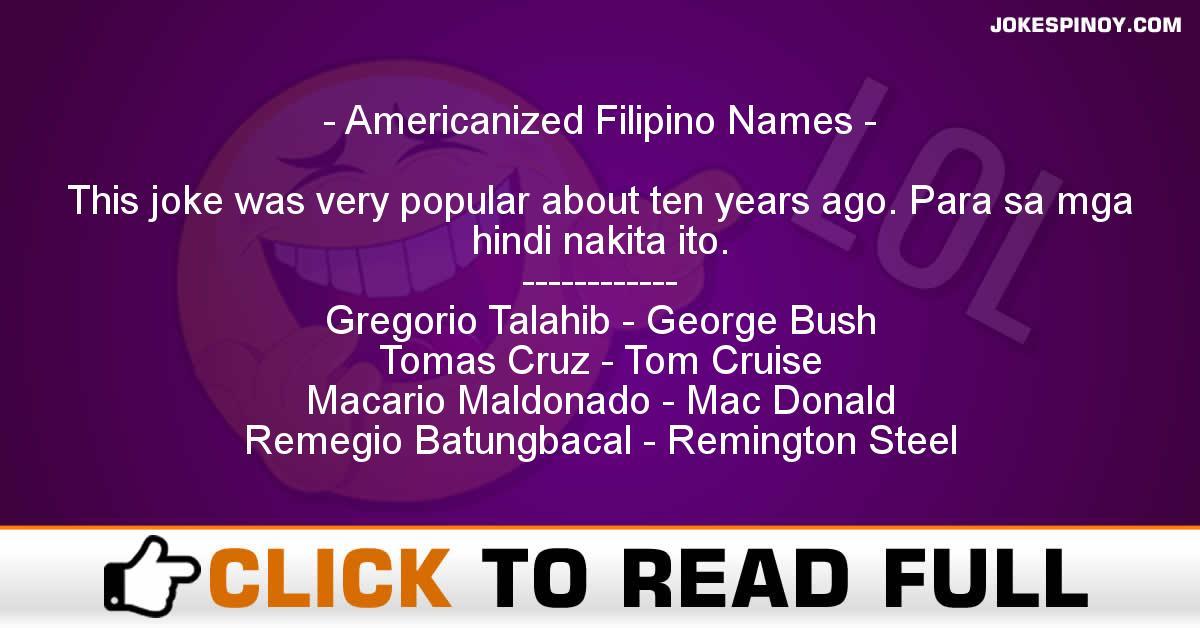 Americanized Filipino Names