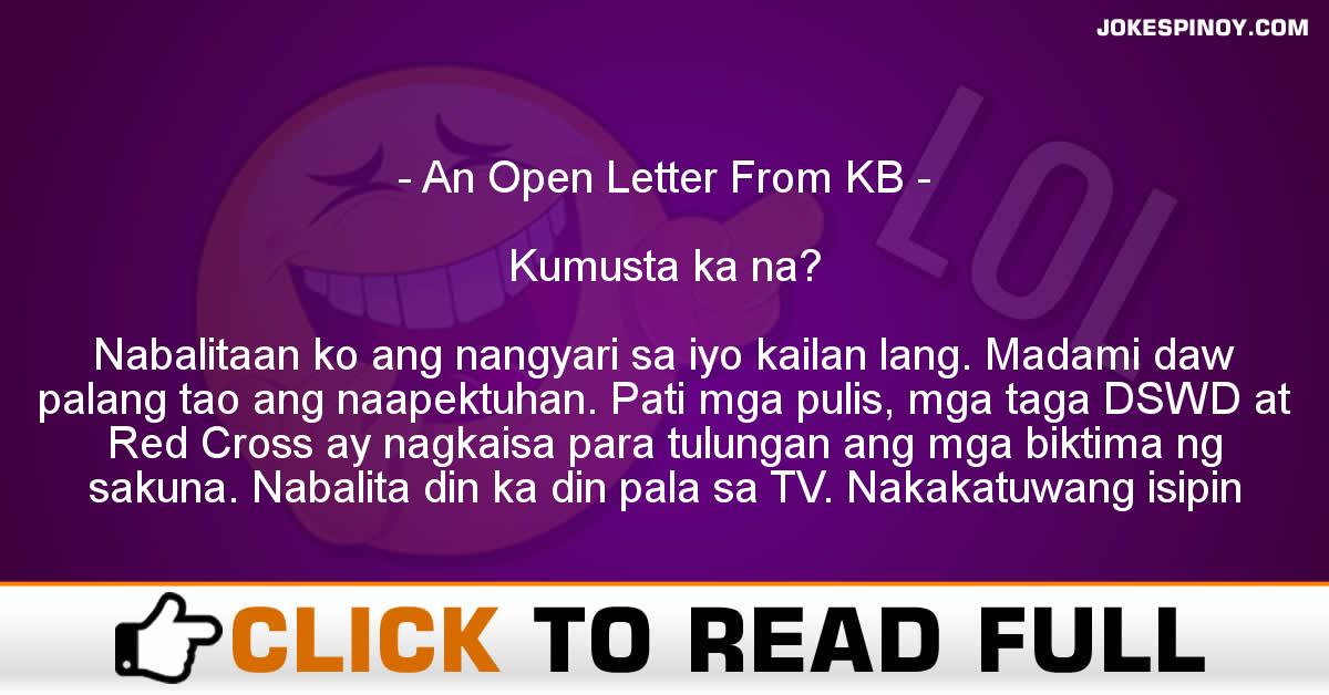 An Open Letter From KB