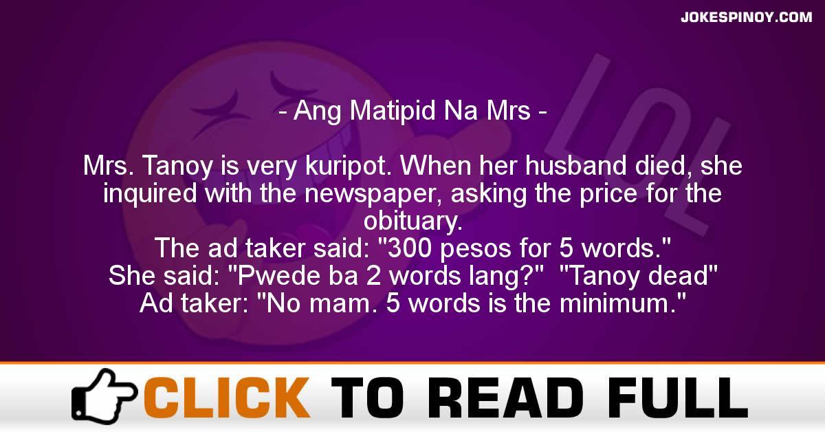 Ang Matipid Na Mrs