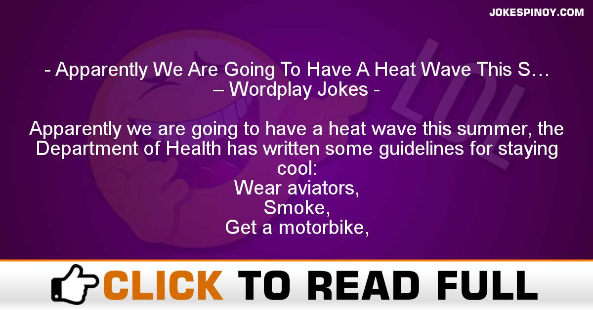 Apparently We Are Going To Have A Heat Wave This S… – Wordplay Jokes