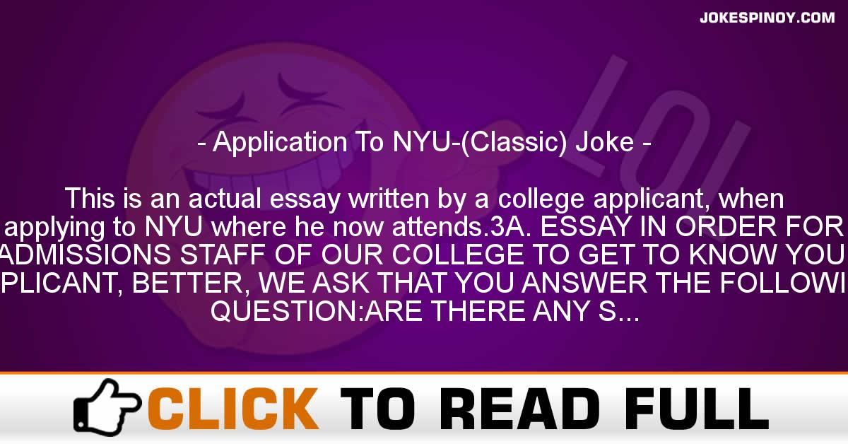 Application To NYU-(Classic) Joke