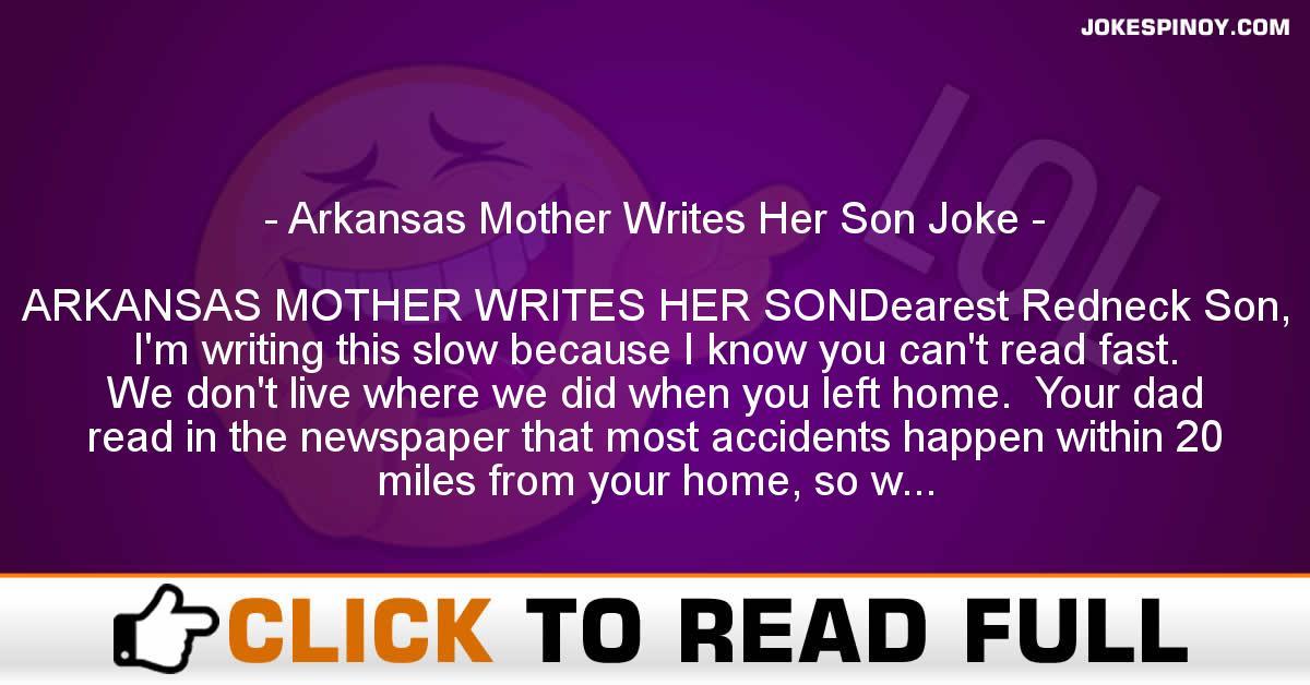 Arkansas Mother Writes Her Son Joke