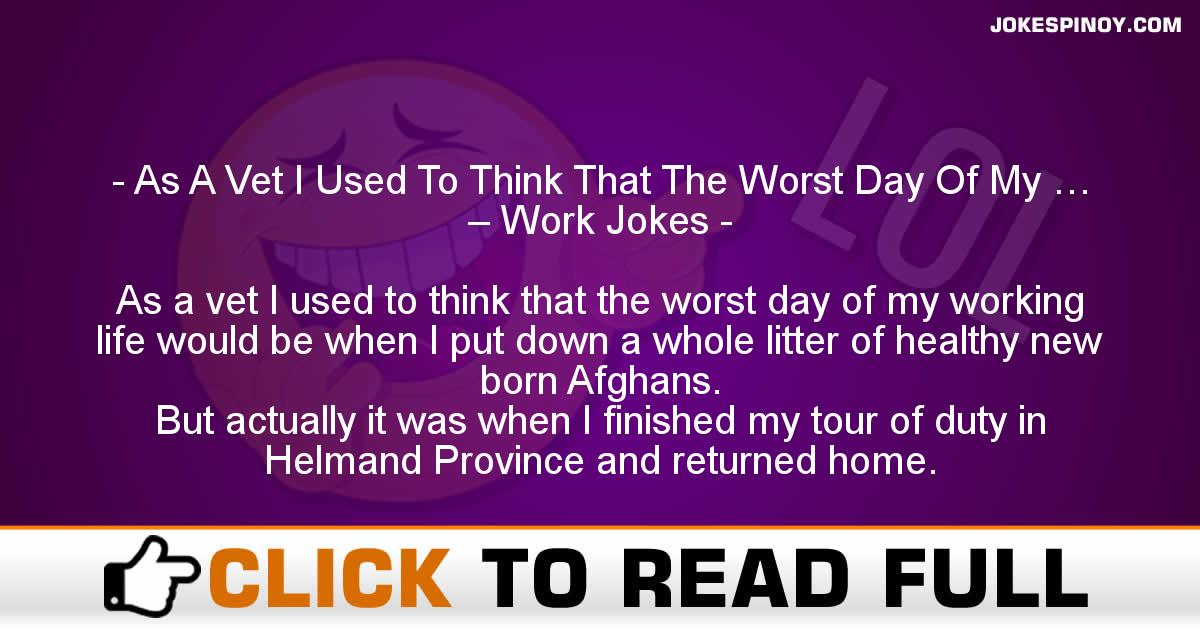 As A Vet I Used To Think That The Worst Day Of My … – Work Jokes