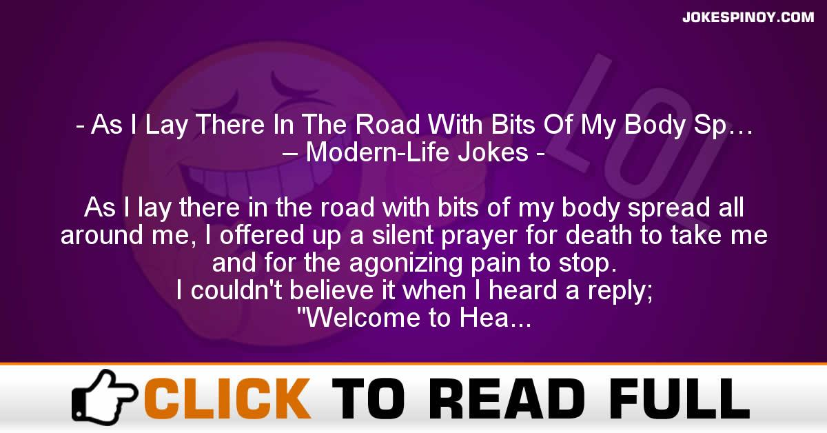 As I Lay There In The Road With Bits Of My Body Sp… – Modern-Life Jokes