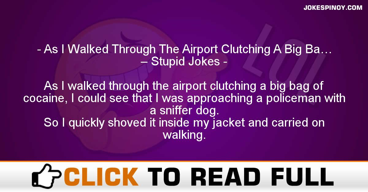 As I Walked Through The Airport Clutching A Big Ba… – Stupid Jokes