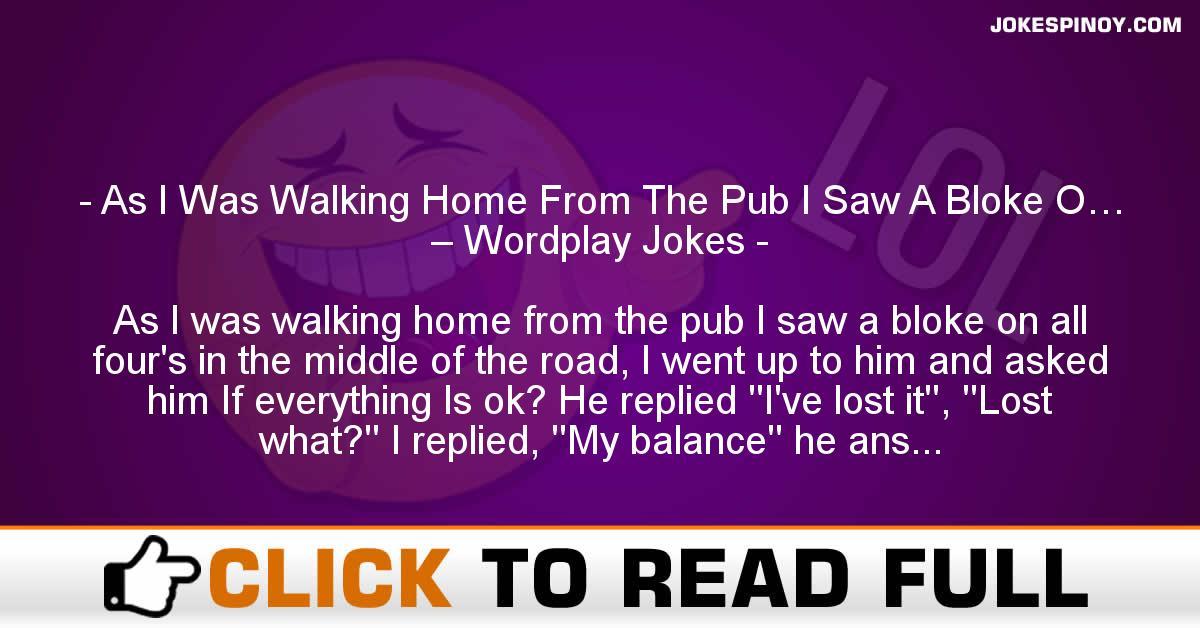 As I Was Walking Home From The Pub I Saw A Bloke O… – Wordplay Jokes