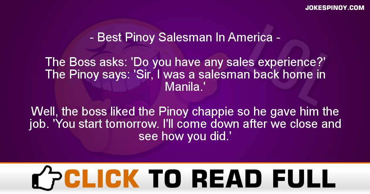 Best Pinoy Salesman In America