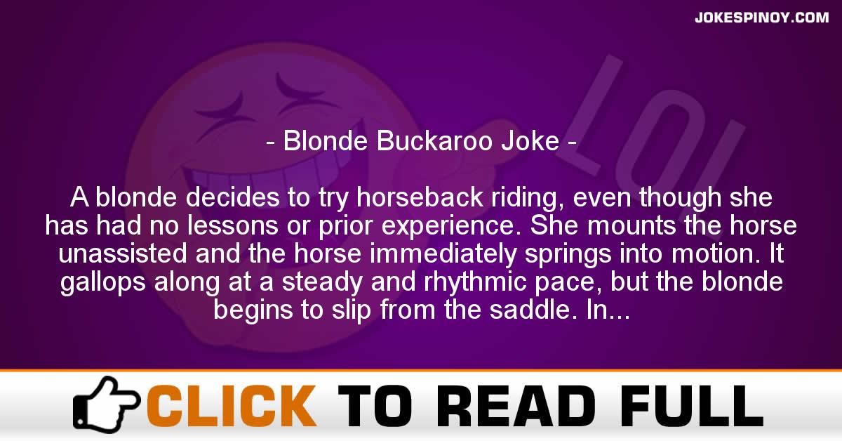 Blonde Buckaroo Joke