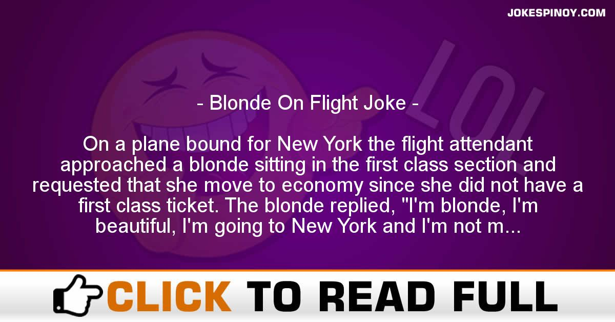 Blonde On Flight Joke