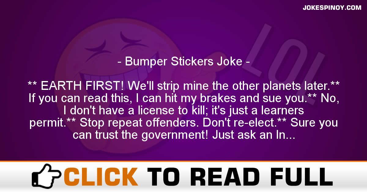 Bumper Stickers Joke